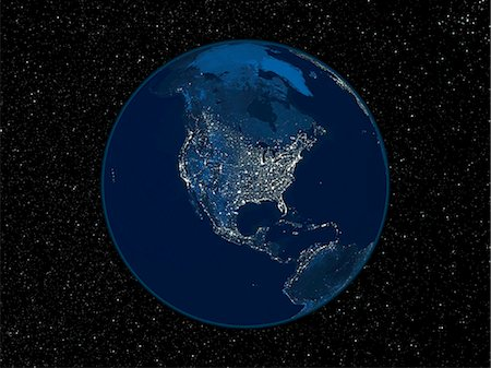 North America at night. Satellite image of the Earth at night, set against a background of stars, centred on the continent of North America. North is at top. City lights (yellow) show areas of dense population. The highest concentrations of population are on the West and East coasts, in cities such as San Francisco and New York. Inland, the continent is well-developed in the east, but the Great Pl Stock Photo - Premium Royalty-Free, Code: 679-02682140