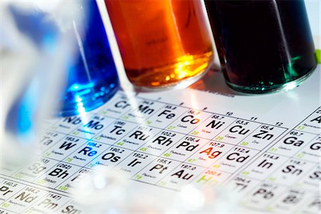 element - Chemistry equipment. Periodic table and bottles of coloured liquids. Stock Photo - Premium Royalty-Free, Code: 679-03298529