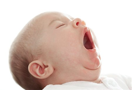 facial - Baby yawning. This baby girl is 3 months old. Stock Photo - Premium Royalty-Free, Code: 679-03298708