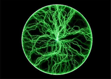 plasma - Photograph of so-called plasma disc producing bright green flashes. Different from a plasma sphere, a plasma disc consist of a flat glass plate containing a phosphor layer. Stock Photo - Premium Royalty-Free, Code: 679-03678322