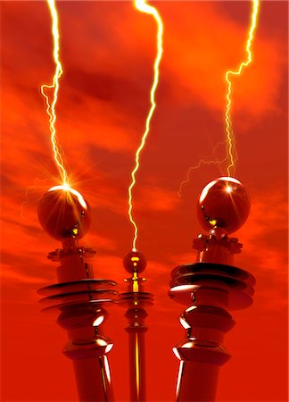 sparks illustration - Tesla coils firing, computer artwork. Stock Photo - Premium Royalty-Free, Code: 679-03680984