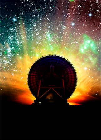 radio telescope - Radio telescope and night sky, computer artwork. Stock Photo - Premium Royalty-Free, Code: 679-03680980