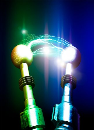 Tesla coils firing, computer artwork. Stock Photo - Premium Royalty-Free, Code: 679-03680983