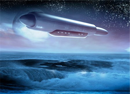 spaceship - UFO. Computer artwork of an unidentified flying object (UFO). Stock Photo - Premium Royalty-Free, Code: 679-03681005