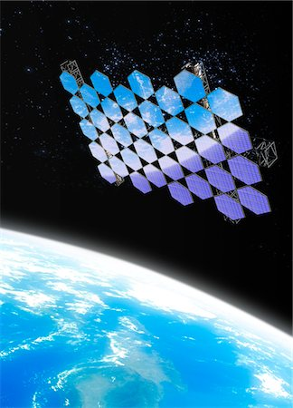 Mirror array. Computer artwork of an array of mirrors in Earth orbit. Stock Photo - Premium Royalty-Free, Code: 679-03681018