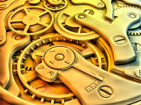 Wrist watch interior. 3D-computer artwork of cogs and gears in a mechanical wrist watch. Stock Photo - Premium Royalty-Free, Code: 679-03681065