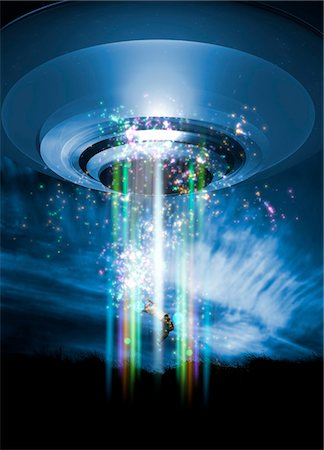 spaceship - UFO human abduction, conceptual computer artwork. Stock Photo - Premium Royalty-Free, Code: 679-03681139