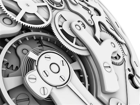Wrist watch interior. 3D-computer artwork of cogs and gears in a mechanical wrist watch. Stock Photo - Premium Royalty-Free, Code: 679-03681919