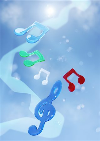 Blue sky and musical notes Stock Photo - Premium Royalty-Free, Code: 670-05652478