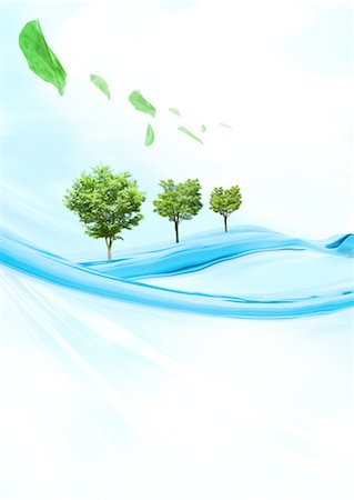 quirky - Trees on water and leaves Stock Photo - Premium Royalty-Free, Code: 670-03607518