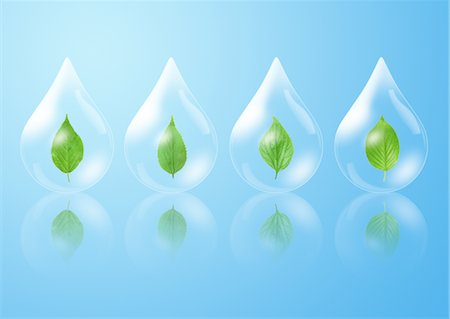 refraction - Leaf within droplet Stock Photo - Premium Royalty-Free, Code: 670-03607513