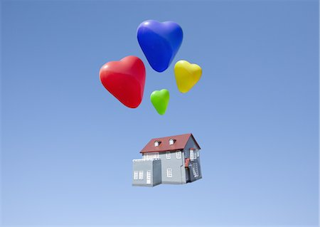 fly heart - Heart shaped balloons and miniature house Stock Photo - Premium Royalty-Free, Code: 670-03886199