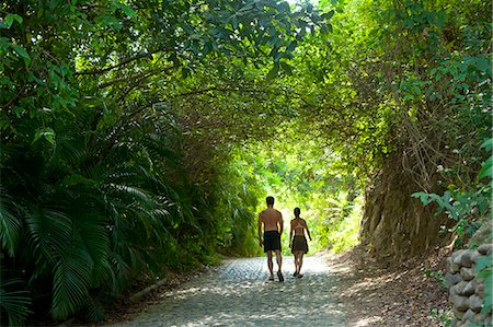 Couple walking down tree arched path Stock Photo - Premium Royalty-Free, Code: 673-06964739