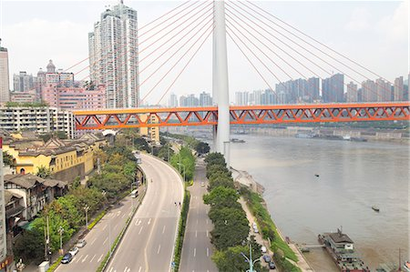 View of the Twin River Bridge from a cable car, Chongqing, China Stock Photo - Premium Royalty-Free, Code: 673-08139266