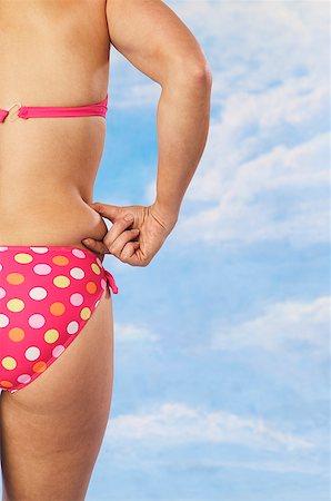 fat woman in bathing suit - Woman wearing pink polka dot bikini Stock Photo - Premium Royalty-Free, Code: 673-02138779