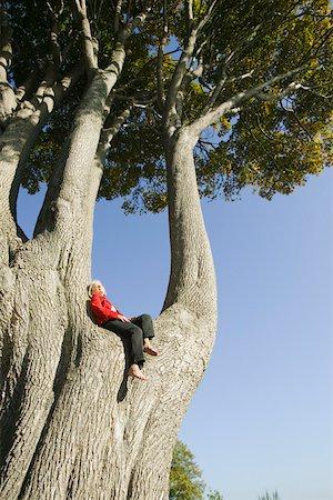 sitting under tree - Woman relaxing in huge tree Stock Photo - Premium Royalty-Free, Code: 673-02140057