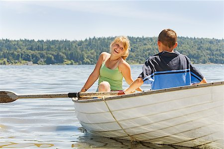 preteen girl boyfriends - Boy and girl in row boat Stock Photo - Premium Royalty-Free, Code: 673-02142954