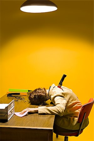 dead female body - Deceased woman in office stabbed in the back Stock Photo - Premium Royalty-Free, Code: 673-02801389