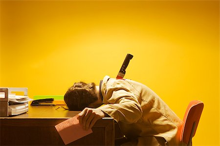 dead female body - Deceased woman in office stabbed in the back Stock Photo - Premium Royalty-Free, Code: 673-02801393