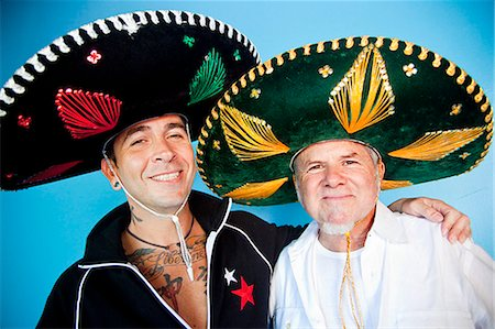 portrait of two men wearing sombreros Stock Photo - Premium Royalty-Free, Code: 673-03623217