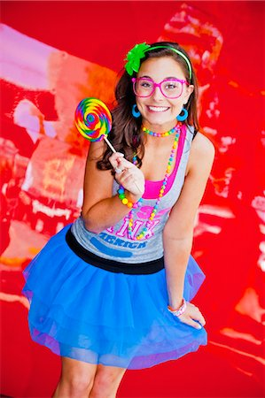 teen girl with large lollipop Stock Photo - Premium Royalty-Free, Code: 673-03826327