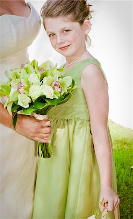 special event - bride and flower girl Stock Photo - Premium Royalty-Free, Code: 673-03826512