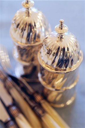 Two silver table bells Stock Photo - Premium Royalty-Free, Code: 689-05612218