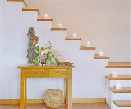 floral pattern - Stairs with burning candles Stock Photo - Premium Royalty-Free, Code: 689-05612228