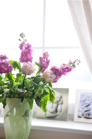 rose - Bunch of flowers at the window Stock Photo - Premium Royalty-Free, Code: 689-05612415