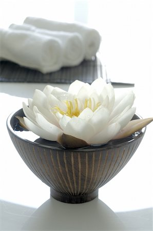 White water lily blossom in bowl with water and towels Stock Photo - Premium Royalty-Free, Code: 689-05612598