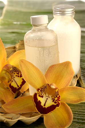 Facial toner with orchid blossom Stock Photo - Premium Royalty-Free, Code: 689-03124394