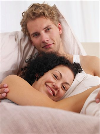 happy couple in bed Stock Photo - Premium Royalty-Free, Code: 689-03131286