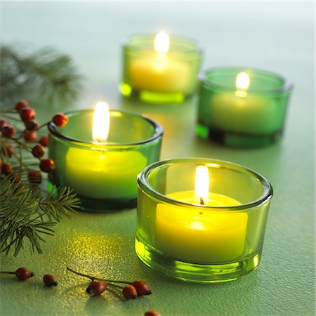 decorative - Tealights and fir branches Stock Photo - Premium Royalty-Free, Code: 689-03733014