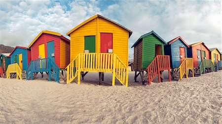 Beach bathing cubicles placed at the highwater mark, Muizenberg Beach, Cape Town, South Africa Stock Photo - Premium Royalty-Free, Code: 682-05977641