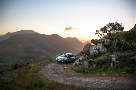 remote car - Vehicle on mountain track at sunset, Table Mountain National Park, Cape Town, Western Cape, South Africa Stock Photo - Premium Royalty-Free, Code: 682-06374059