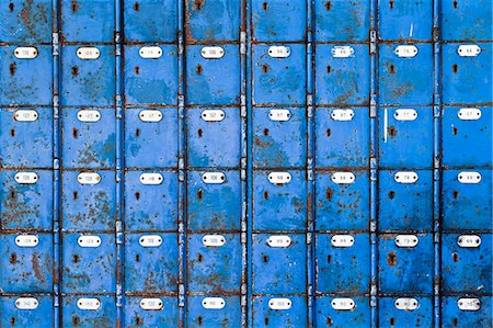 Close up image of rows of blue post boxes in Port Elizabeth, Eastern Cape, South Africa Stock Photo - Premium Royalty-Free, Code: 682-06374134