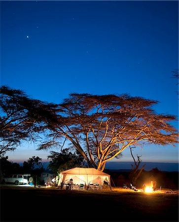Camping at dusk, Laikipia, Kenya Stock Photo - Premium Royalty-Free, Code: 682-06374154