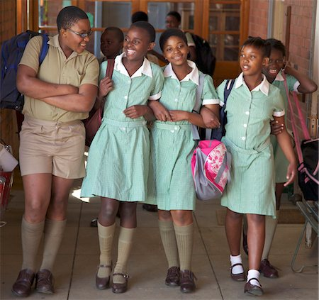school girl uniforms - Group of schoolchildren walk together, KwaZulu Natal Province, South Africa Stock Photo - Premium Royalty-Free, Code: 682-03643836