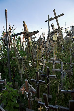 religious cross nobody - Lithuanian graveyard with wooden crosses Stock Photo - Premium Royalty-Free, Code: 694-03333044