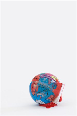 prevention - Adhesive bandage soaked in blood wrapped around globe Stock Photo - Premium Royalty-Free, Code: 695-05770881