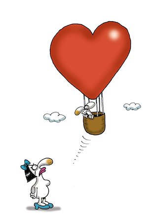 fly heart - Woman looking up at man in heart-shaped hot air balloon Stock Photo - Premium Royalty-Free, Code: 695-05780381