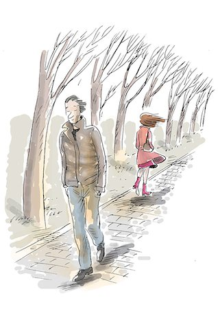 sad lovers break up - Man and woman walking on path in winter Stock Photo - Premium Royalty-Free, Code: 695-05780405