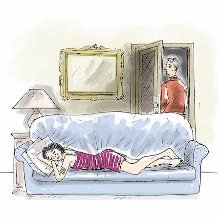 sad lovers break up - Couple, woman crying on couch, man leaving Stock Photo - Premium Royalty-Free, Code: 695-05780414