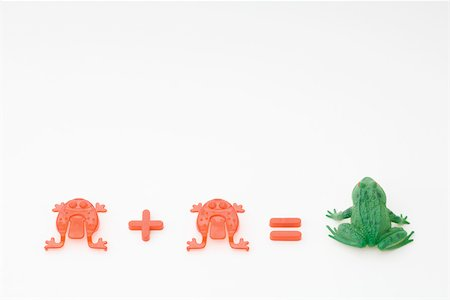 Red frog plus red frog equals green toad Stock Photo - Premium Royalty-Free, Code: 695-03380355