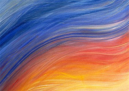 Brush strokes painted in shades of yellow, red and blue, close-up, full frame Stock Photo - Premium Royalty-Free, Code: 695-03380820