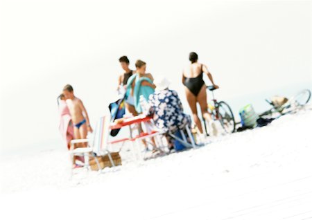 Group of people on beach, blurred Stock Photo - Premium Royalty-Free, Code: 696-03399614