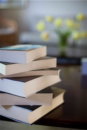 Stack of books on table Stock Photo - Premium Royalty-Free, Code: 698-06374665