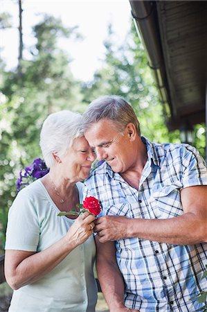 passion - Happy romantic senior couple at garden Stock Photo - Premium Royalty-Free, Code: 698-06374960