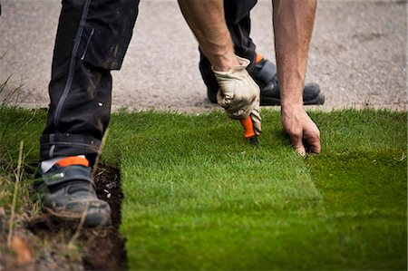 Cropped image of man cutting new grass turf in lawn Stock Photo - Premium Royalty-Free, Code: 698-06375478