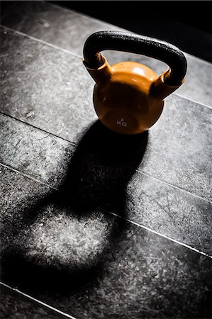High angle view of kettlebell on stone stairs Stock Photo - Premium Royalty-Free, Code: 698-06966254